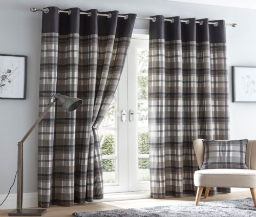 GREY CHARCOAL LINED RING TOP EYELET STYLISH TARTAN CHECK LUXURY MODERN CURTAINS